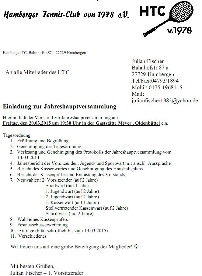 hamberger tennisclub, Einladung